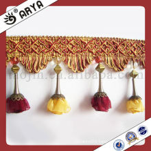 Little Flower Beaded Fringe For Curtain Decorative Pom Pom Fringe Yarn Polyester