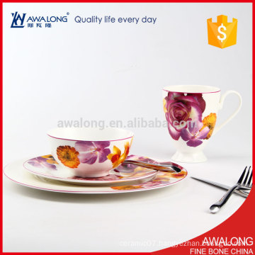 Awalong hot sale bone china dinner set with roses design ceramic tableware