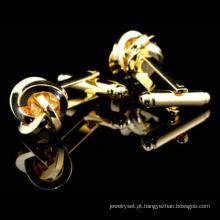 Moda nó ouro clássico botões de punho Hlk30290