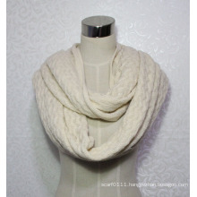 Women Fashion Wave Pattern Acrylic Knitted Infinity Winter Scarf (YKY4393)