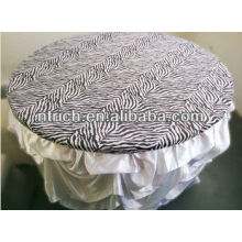 Fashion spandex zebra stripe top cover and ruffled wedding table cloth