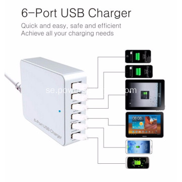 6 Port USB laddare Travel Adapter