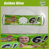 Girl face through hand rolling banner