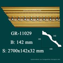 Estilo moderno de alta densidad de poliuretano corona de moldeo para los diseños de techo