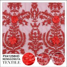 China atacado handwork frisado applique lantejoulas malha de tecido bordado