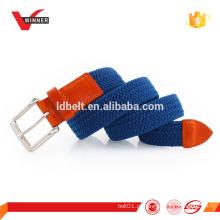 Mens Elastic Braided Stretch Belt com abas de couro