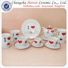 Ensemble de vaisselle de vaisselle en céramique / I Love Décoration de thé Ensemble de petit-déjeuner / céréales en porcelaine Plat à fruits Plat à thé Théière et soucoupe