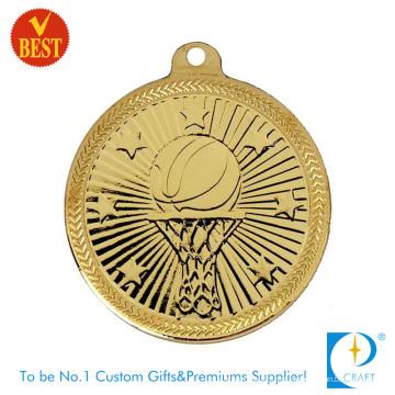 Atacado China Personalizado Liga de Zinco Fundição Medalha de Basquete 3D em Bronze