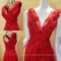 Real Sample Sexy Deep V-Neck A-line Evening Dresses 2016 Latest Flower Applique Beaded Sequin Long Party Vestidos Hot Sale ML208