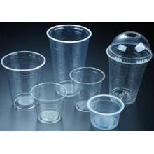 Copos plásticos claros descartáveis, fontes do partido, bebidas frias
