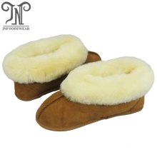 Ladies warm sheepskin fuzzy booties soft sole slippers