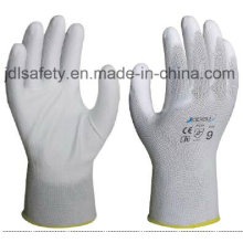 White Nylon Work Glove with PU Palm Coated (JDL003)