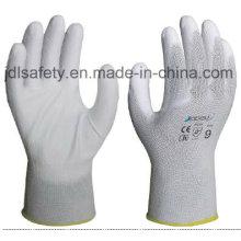 Gants de travail en Nylon blanc avec paume PU enduit (JDL003)