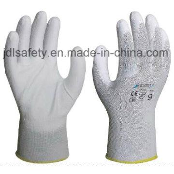 Белый нейлон перчатки работы ладонью PU покрытием (JDL003)