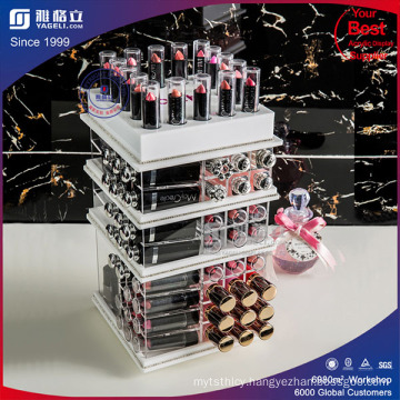 White Acrylc Cosmetic Lipstick & Compact Tower with Pockets