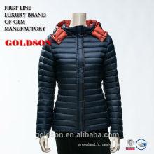 2017 Européen Classique Slim Fit Coat Type Hoody Dark Short Warm Winter Down Jacket Femme avec capuche