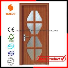 Nuevo diseño de puerta de madera de PVC con Windows