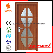 Nouvelle conception de porte en bois PVC avec Windows