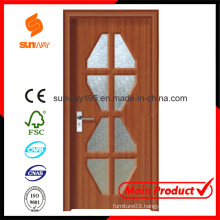 New Design of PVC Wood Door with Windows