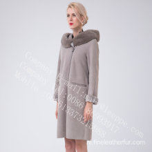 Women Bias Zipper Spanje Merino Shearling Overcoat