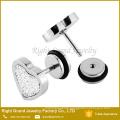 Surgical Steel Sandpaper Heart Stud Earrings Faux Fake Ear Plugs Gauges