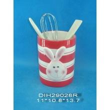 Suporte de utensílio cerâmico pintado à mão para decoração da Páscoa
