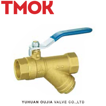 brass color long handle filter ball valve