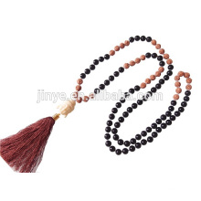 108 Hand Knotted Yoga Black Agate Wooden Prayer Beaded Tassel Buddhist Necklace
