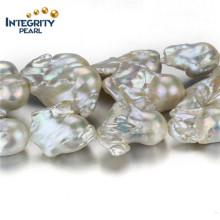 Moda perla de agua dulce accesorio AA gran nucleated 20 mm perla de la cadena
