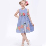 Girl's Blue Cotton Dress (1129#)