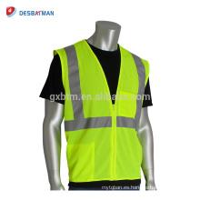 Chaleco amarillo fluorescente impreso fluorescente de encargo de la seguridad de carreteras chaleco reflexivo reflexivo de la malla de Vis de la fuerza de trabajo con 2 bolsillos y cremallera delantera