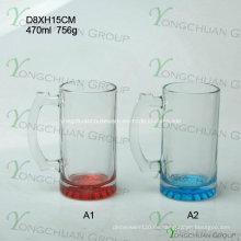 470ml Glas Bierkrug mit Unterseite Farbe Nizza Form