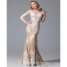 2017 Latest Design Long Sleeve V Neck Luxury Satin Appliqued Sexy Champagne Mermaid Wedding Dress