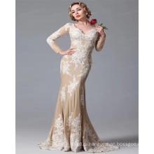 2017 Последние Дизайн С Длинным Рукавом V Шеи Роскошные Атласная Аппликация Сексуальная Шампанское Русалка Свадебное Платье
