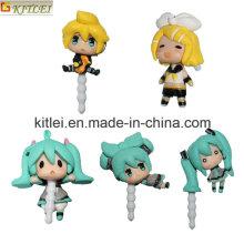5 STÜCKE Nette Vocaloid Miku Action Figure Hohe Qualität Vocaloid Miku Abbildung Anti-staubdicht Stecker