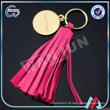 WANJUN benutzerdefinierte schöne rote Leder tasselkeychain & keyringK-497)