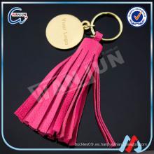 Tasselkeychain de cuero rojo hermoso de encargo de WANJUN y keyringK-497)