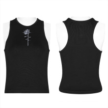 Black tops with rose print OPT-580BXF Wholesale 2021 summer ladies sleeveless tank top sexy tops woman sexy top