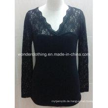 Schwarze Spitze Ärmel V-Ausschnitt Sexy Lady Fashion Shirt Top