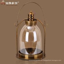 Lanterna de porta de vela de vidro corredor portátil com punho de ferro e suporte
