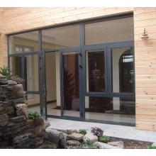 Último diseño fábrica precio patrón de aluminio de vidrio puerta de aleación