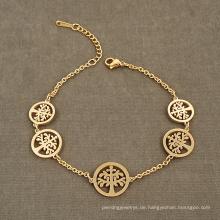Mexikanische Gold Glücksbaum des Lebens Charm Vitality Großhandel Armband