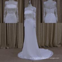 2015 Wholesale V décolleté Backless Robes de mariée Chine en mousseline de soie