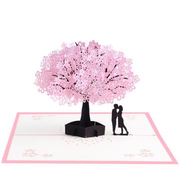 FQ Marke Großhandel Hochzeit Gruß 3d Pop-up-Sakura-Karte