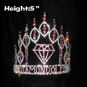Coroas do concurso de diamante de cristal de 5in de altura