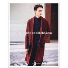 Neue stil herren langen mantel gestrickte offene front kaschmir mantel taschen casual lange strickjacke reiner mantel für männer