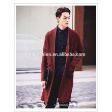 Novo estilo mens longo casaco tricotado aberto frente caxemira casaco bolsos casual longo cardigan casaco puro para homens