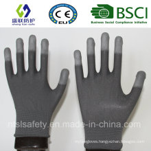 13G Gary Nylon Liner with White PU Finger Tip Coating Safety Gloves (SL-PU205G)