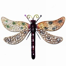 Multicolor Metal Dragonfly Wall Ornament Garden Decoration