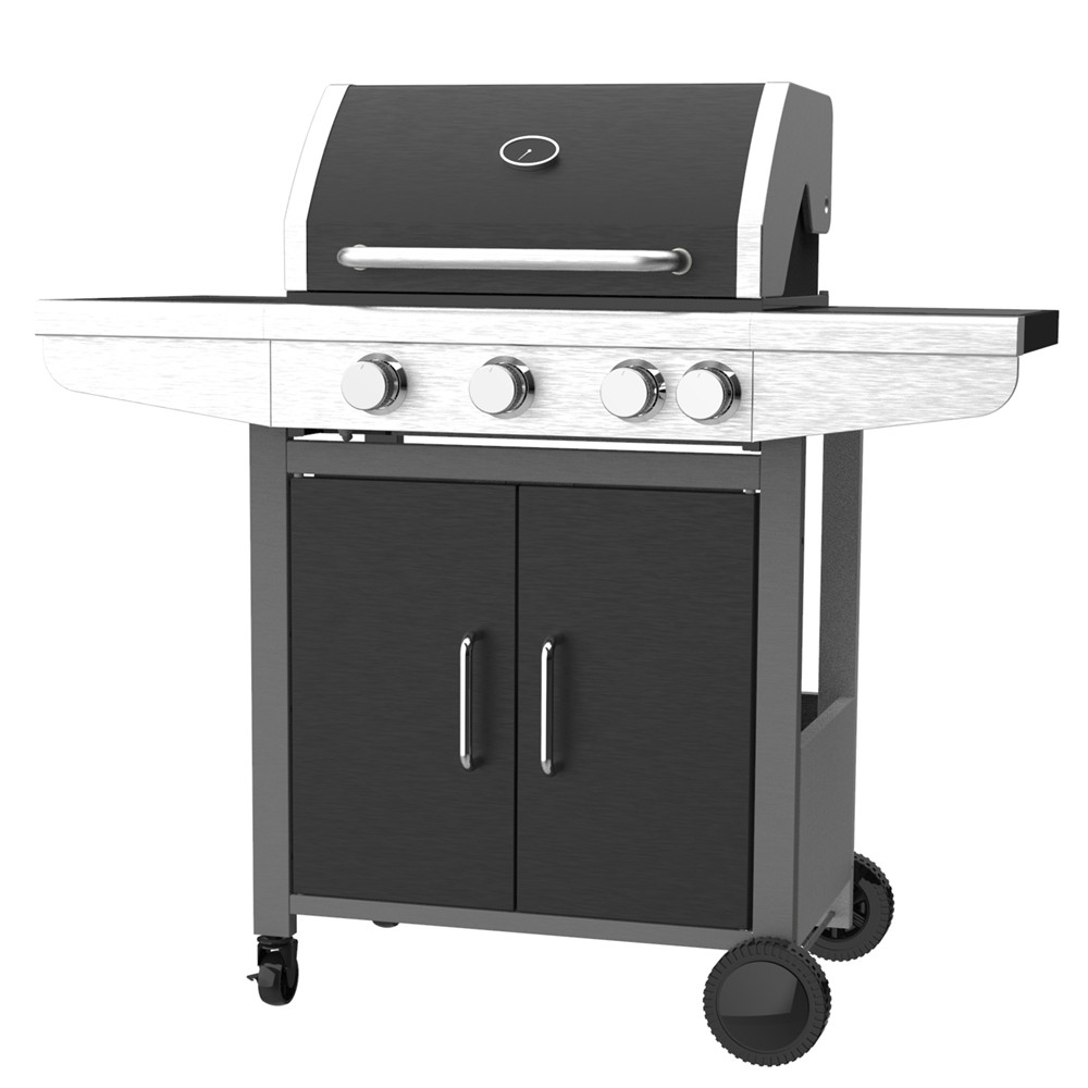 Three Burner Gas Barbecue Grill With Side Burner